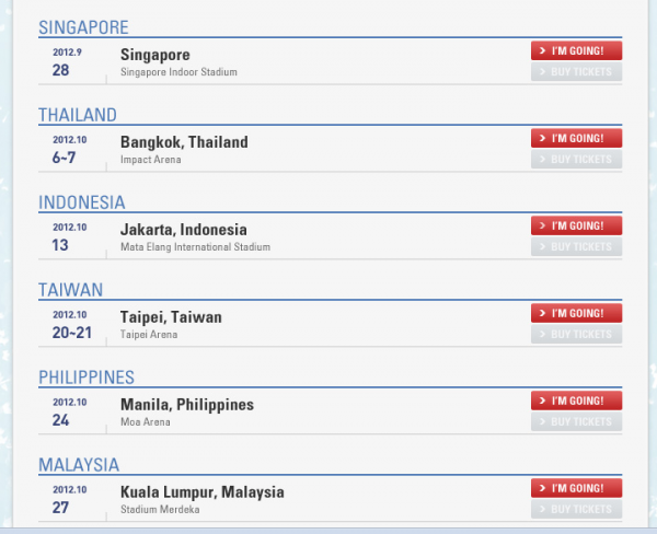 BIGBANG Alive Tour dates