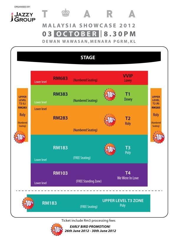 T-ARA Malaysia Showcase seating plan