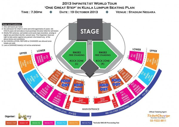 INFINITE One Great Step Malaysia seating plan