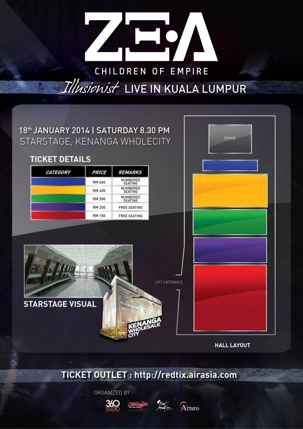 ZEA Illusionist Concert Malaysia seating plan