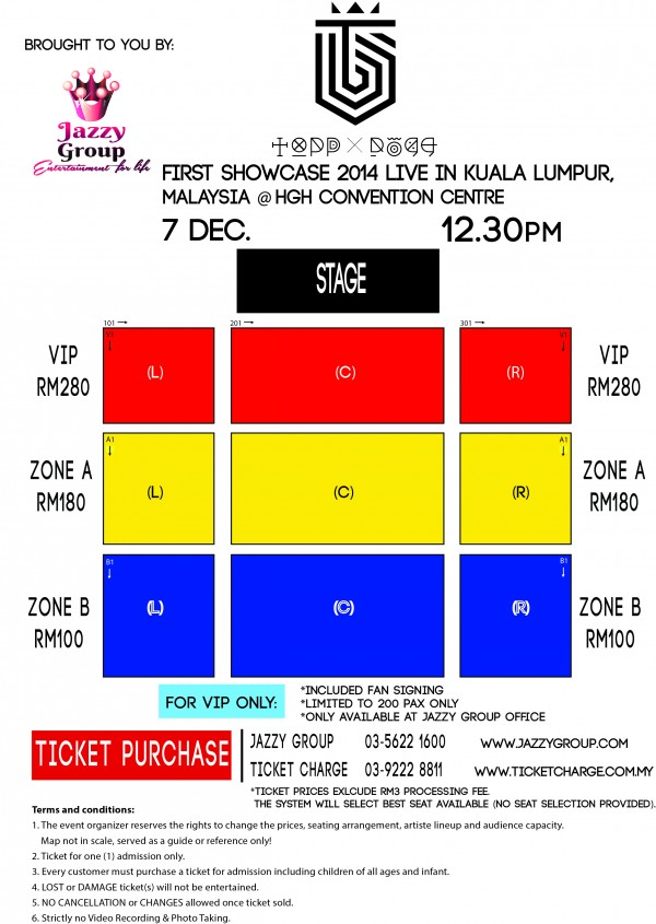 TOPP DOGG 1ST Showcase in Malaysia seating plan