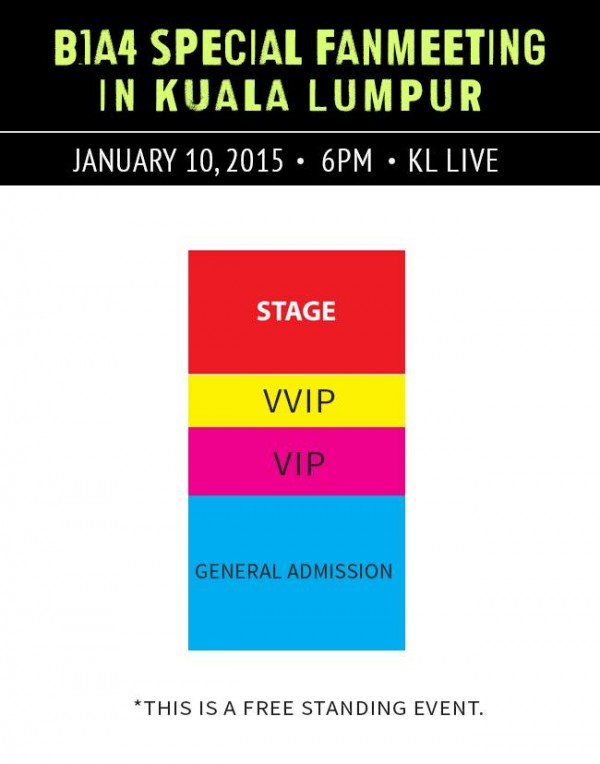 B1A4 Special fan meeting in Malaysia seating plan