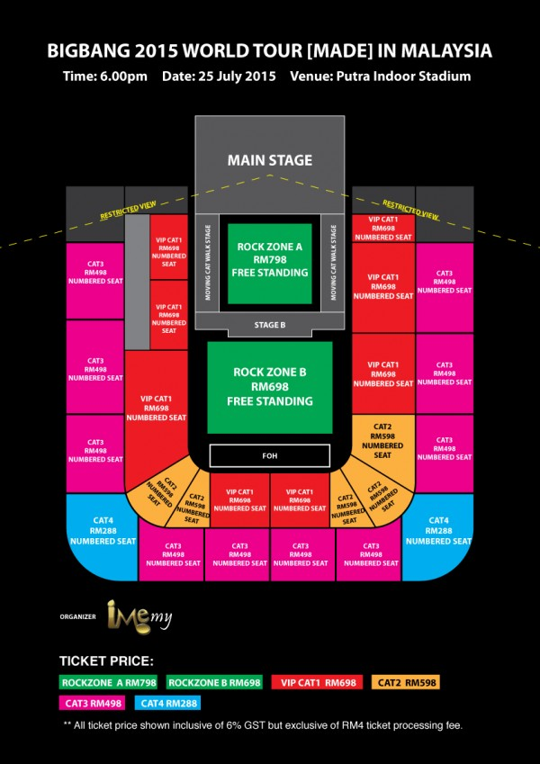 BIGBANG MADE Tour Malaysia seating plan