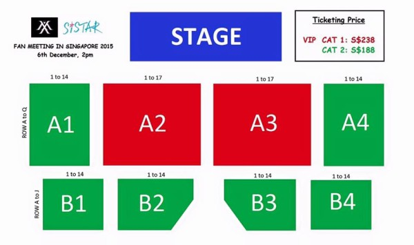SISTAR Monsta X Fan Meeting in Singapore seating plan