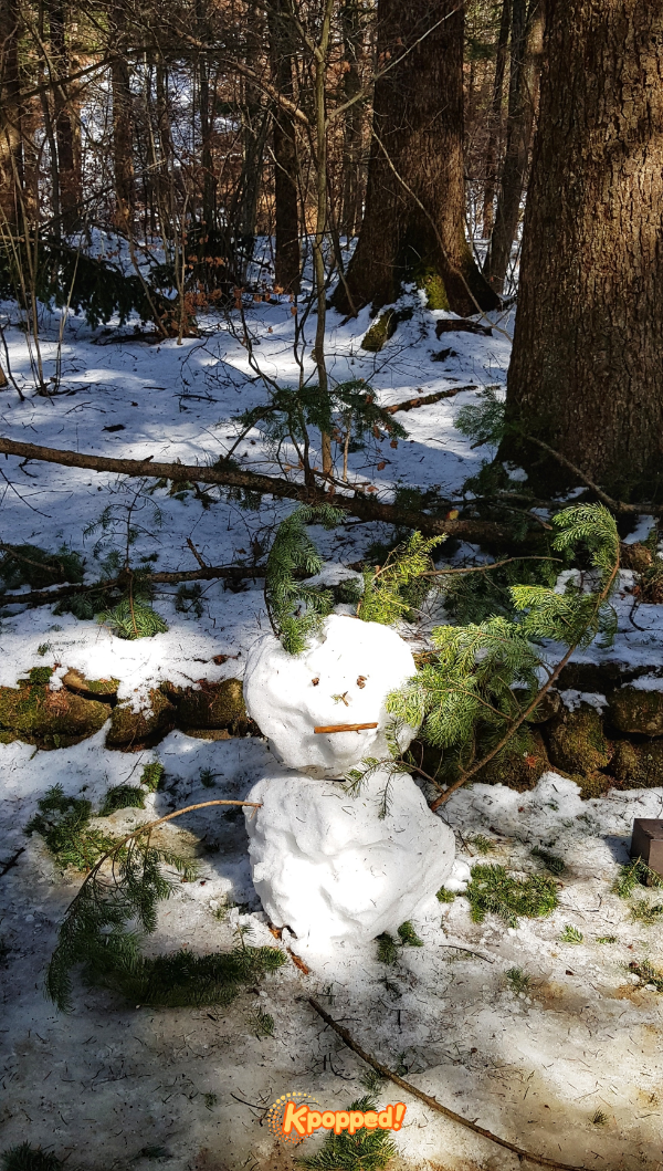 We found a snowman waiting on the way to the temple